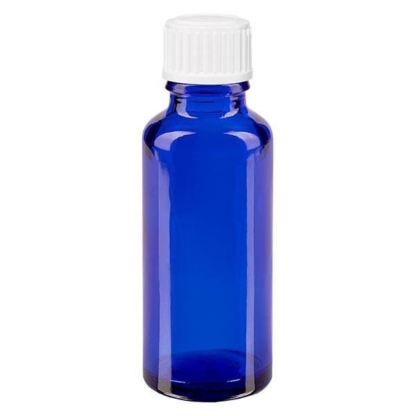 Blauwe glazen flessen 30ml met wit schroefsluiting globuli uitgietring St
