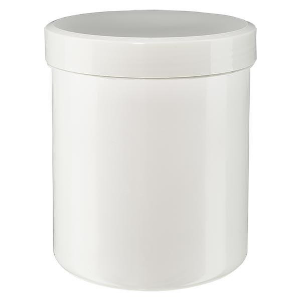 Zalfpot 250 g wit met schroefdeksel wit (PP)
