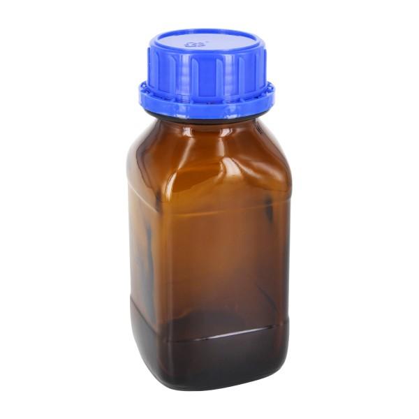 250 ml vierkante fles met wijde hals bruin glas, incl. schroefsluiting VR DIN45 blauw met EPE-tussenlaag