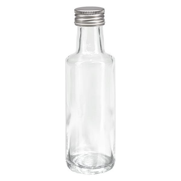 100 ml likeurfles rond helder glas incl. aluminium schroefsluiting zilver (PP 24 mm)