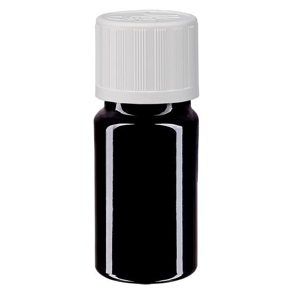 Violetglas fles 5ml DIN 18 met wit schroefsluiting kinderslot St