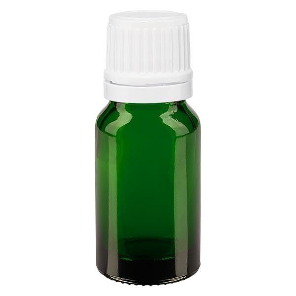 Groenen glazen flessen 10ml met wit schroefsluiting VR