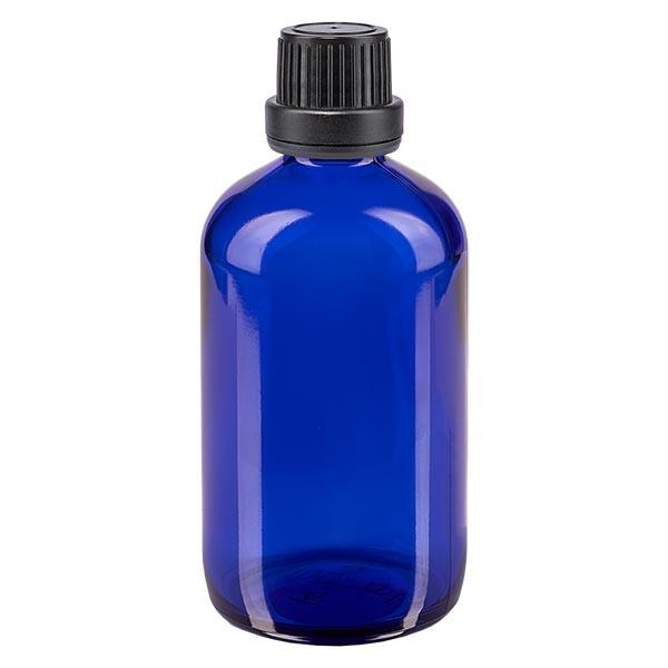 Blauwe glazen flessen 100ml met zwart schroefsluiting dicht. VR