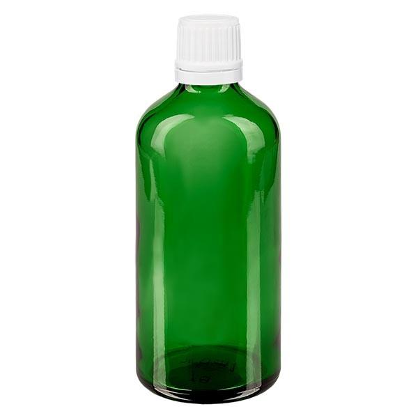 Groenen glazen flessen 100ml met wit schroefsluiting VR