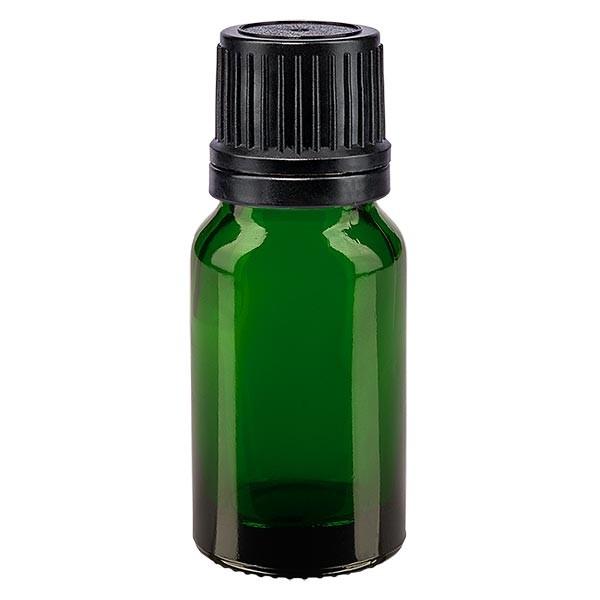 Groenen glazen flessen 10ml met zwart druppelsluiting 1mm VR
