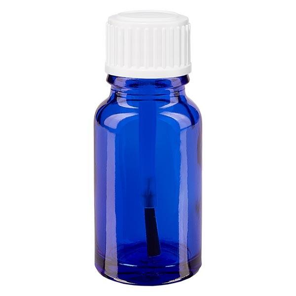 Blauwe glazen flessen 10ml, wit schroefsluiting met kwastje VR