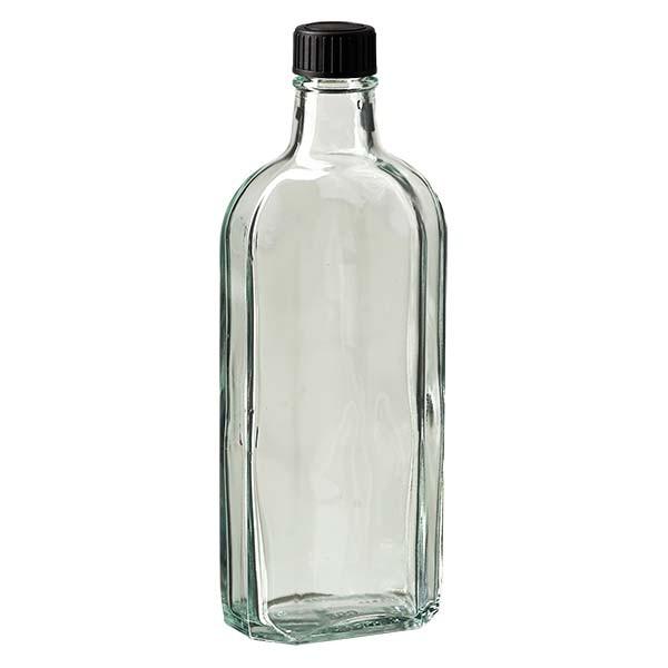 250 ml witte meplatfles met DIN 22 monding, inclusief schroefsluiting DIN 22 zwart van LKD