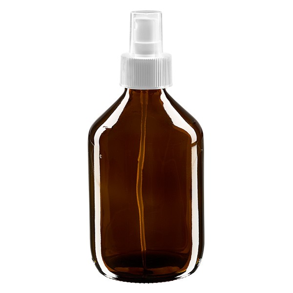 300ml Euro-medicijnfles bruin met verstuiver wit incl. dop transparant