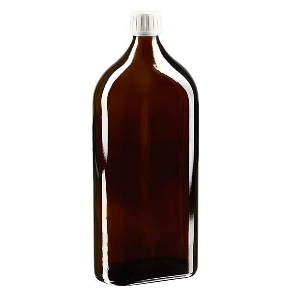 1000 ml bruine meplatfles met PP 28 monding, inclusief schroefsluiting DIN 22 wit van EPE