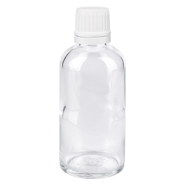 Helder glazen flessen 50ml met wit schroefsluiting VR