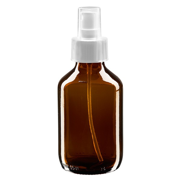 150ml Euro-medicijnfles bruin met verstuiver wit incl. dop transparant