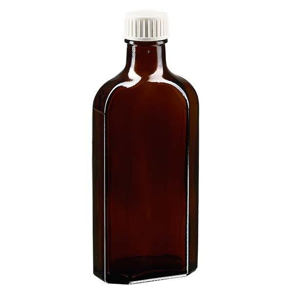 150 ml bruine meplatfles met DIN 22 monding, inclusief schroefsluiting DIN 22 wit met PE-schuiminzetstuk