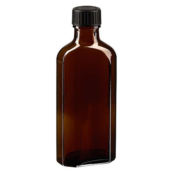 100 ml bruine meplatfles met DIN 22 monding, inclusief schroefsluiting DIN 22 zwart van LKD
