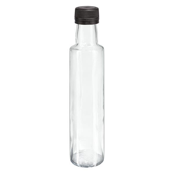 250 ml likeurfles rond helder glas incl. schroefsluiting zwart (PP 31,5 mm) met uitgietring met garantiesluiting (OV)