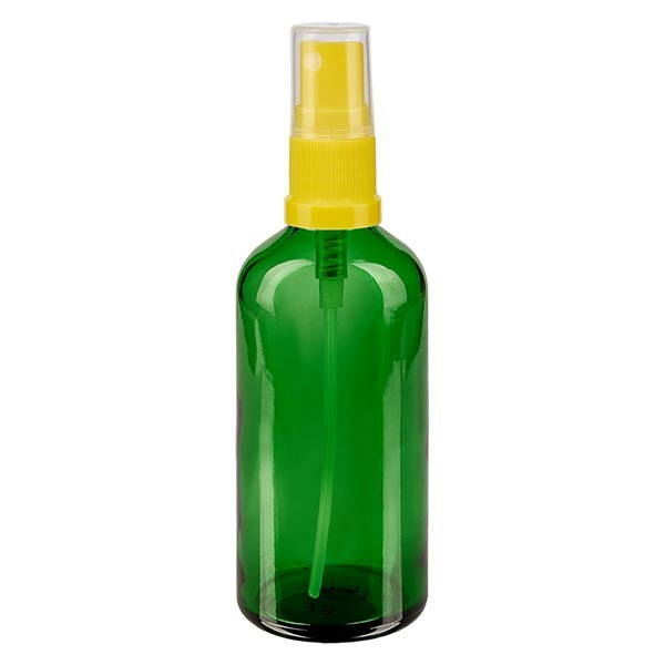 Groenen glazen flessen 100ml met geel pompverstuiver