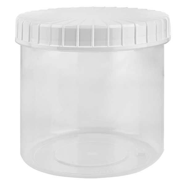 Kunststof pot 375ml transparant met geribbeld wit schroefdeksel van PE, type sluiting standaard