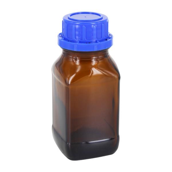 100 ml vierkante fles met wijde hals bruin glas, incl. schroefsluiting VR DIN32 blauw met EPE-tussenlaag