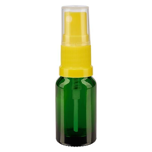 Groenen glazen flessen 10ml met geel pompverstuiver