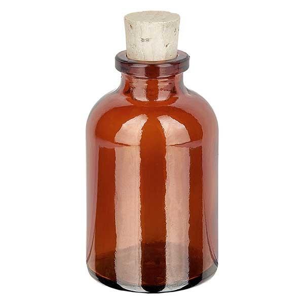 Injectiefles bruin glas 30ml met kurk 11/14mm