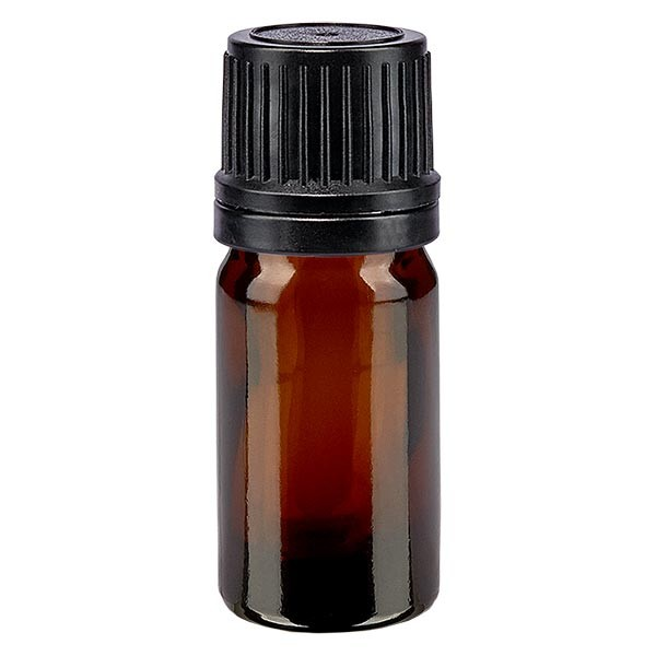 Bruine glazen fles 5ml met zwart schroefsluiting uitgietring VR