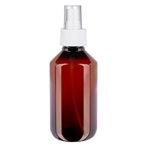 200 ml PET medicijnfles met verstuiver wit GCMI 28/410 incl. dop transparant, standaard