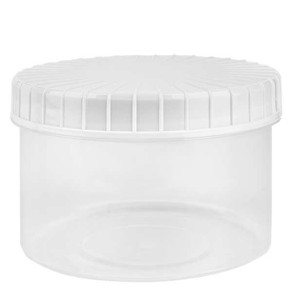 Kunststof pot 250ml transparant met geribbeld wit schroefdeksel van PE, type sluiting standaard