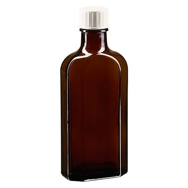 125 ml bruine meplatfles met DIN 22 monding, inclusief schroefsluiting DIN 22 wit met gietring