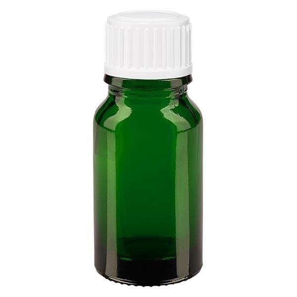 Groenen glazen flessen 10ml met wit schroefsluiting St
