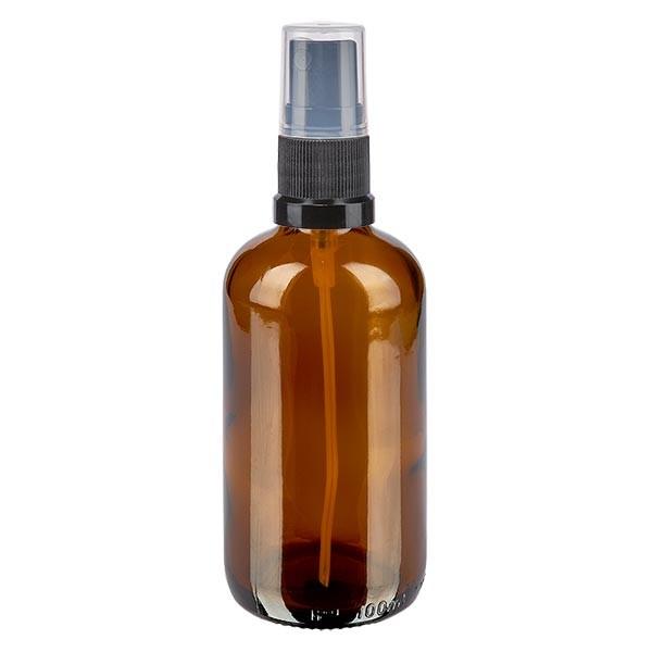 Bruin glazen flessen 100ml met zwart pompverstuiver