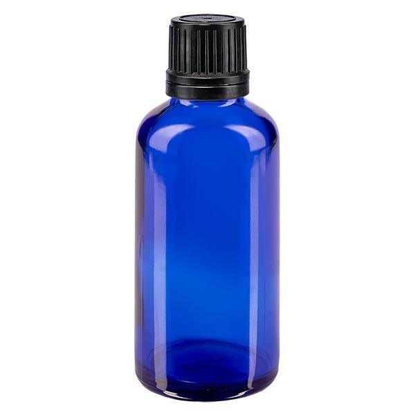 Blauwe glazen flessen 50ml met zwart schroefsluiting uitgietring VR
