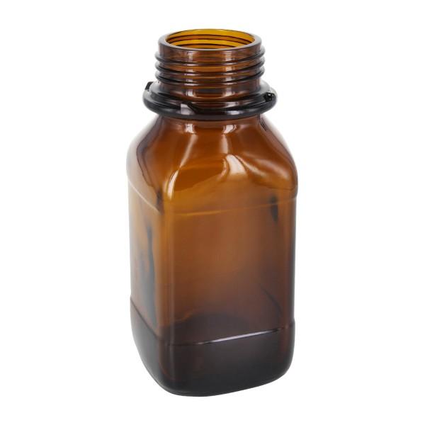 250 ml vierkante fles met wijde hals bruin glas met DIN 45 krans