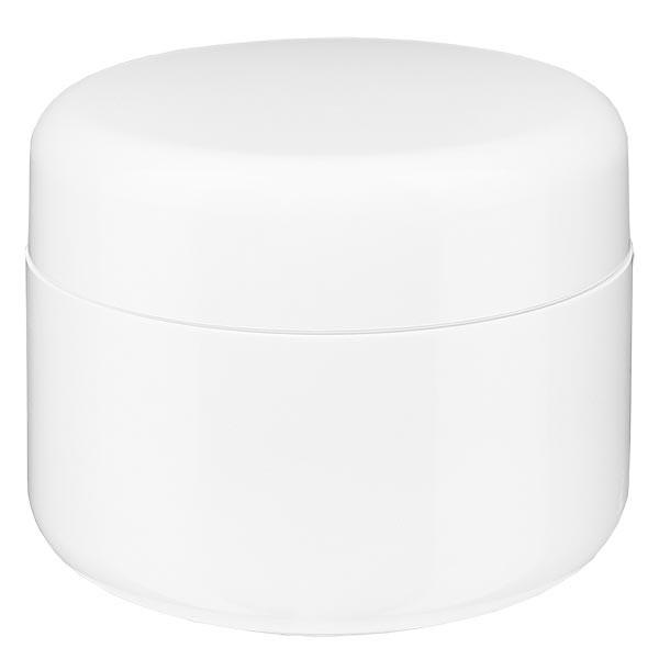 Crèmepot 'Softline' wit 50ml met schroefdop en afdekplaatje