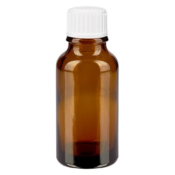 Bruine glazen fles 20ml met wit druppelsluiting 0.8mm St