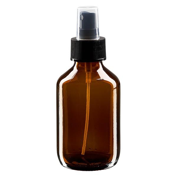 150ml Euro-medicijnfles bruin met verstuiver zwart incl. dop transparant