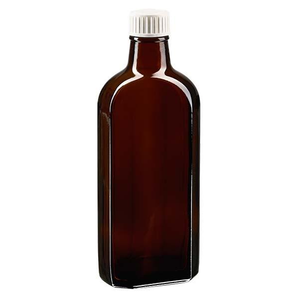250 ml bruine meplatfles met PP 28 monding, inclusief schroefsluiting DIN 22 wit van EPE