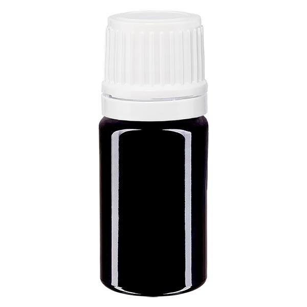 Violetglas fles 5ml DIN 18 met wit schroefsluitig VR