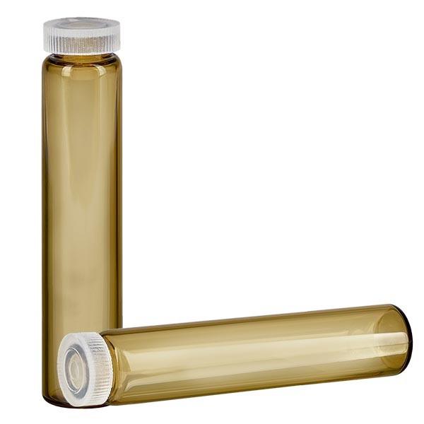 1 glazen met rolrand / essencebuisjes bruin glas 2ml