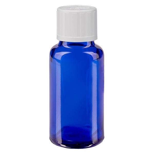 Blauwe glazen flessen 20ml met wit druppelsluiting kinderslot St