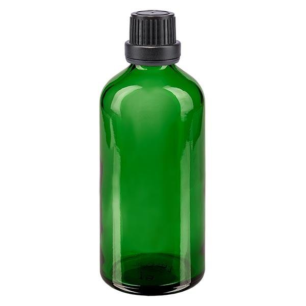 Groenen glazen flessen 100ml met zwart schroefsluiting dicht. VR