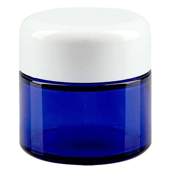 Glazen pot 50ml royalblauw, zonder sluiting