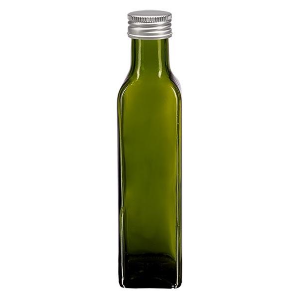 250ml oliefles vierkant olijfgroen incl. alu schroefsluiting zilver (PP 31.5mm)