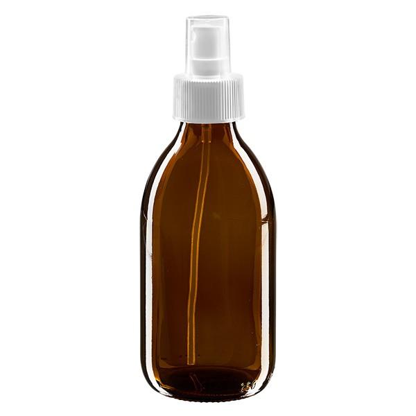 250ml Euro-medicijnfles bruin met verstuiver wit incl. dop transparant