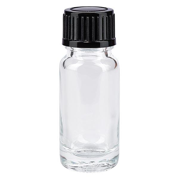 Helder glazen flessen 10ml met zwart druppelsluiting 1mm St