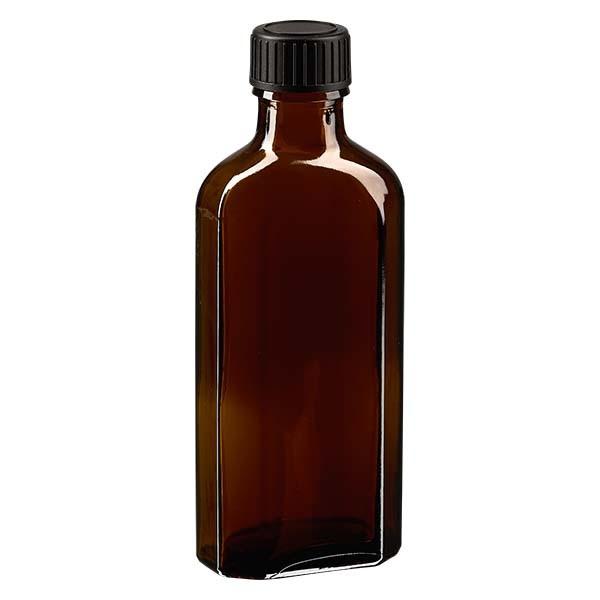 100 ml bruine meplatfles met DIN 22 monding, inclusief schroefsluiting DIN 22 zwart van EPE