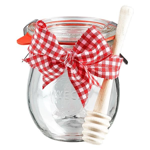 Honigglas (Weckglas) inkl. Honiglöffel und dekorativer Schleife