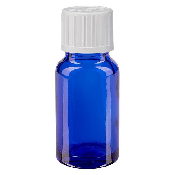 Blauwe glazen flessen 10ml met wit druppelstop KiSi St
