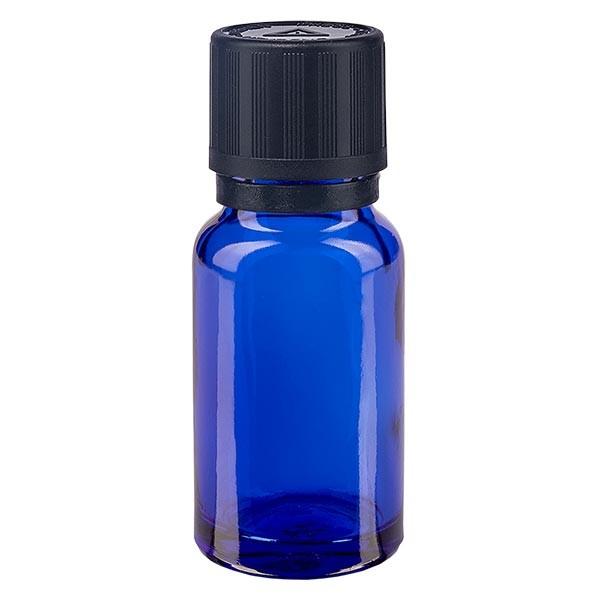 Blauwe glazen flessen 10ml met zwart 1mm druppelstop KiSi Bliw OV