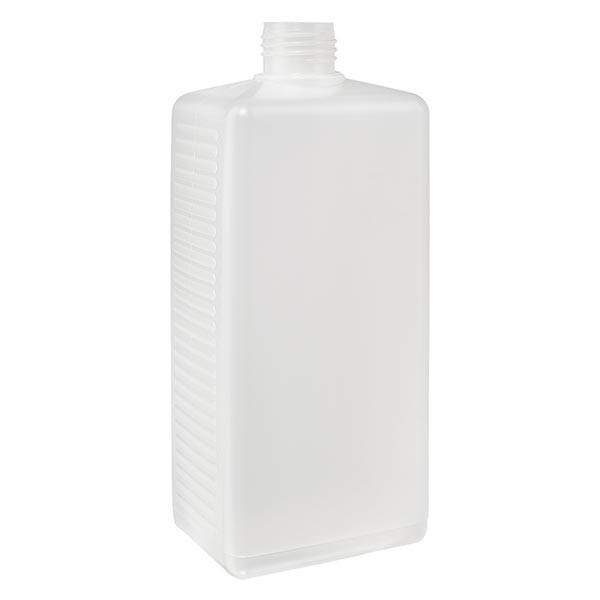 Hoekige fles 500ml PE blank ND 25, zonder deksel