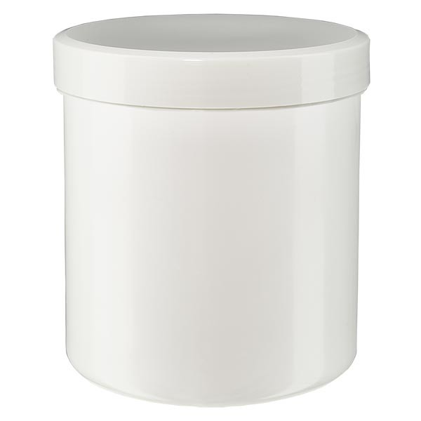 Zalfpot 30 g wit met schroefdeksel wit (PP)