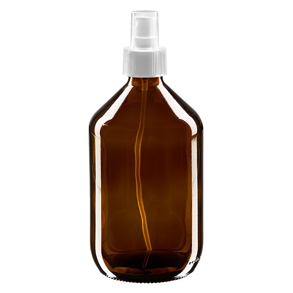 500 ml Euro-medicijnfles bruin met verstuiver wit incl. dop transparant